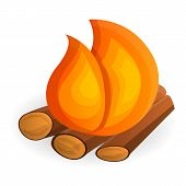 Burning Bonfire Icon. Cartoon Of Burning Bonfire Vector Icon For Web Design Isolated On White Backgr poster