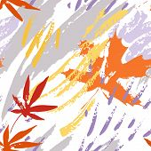 Abstract Fall Seamless Pattern In Tender Colors. Grunge Silhouette Of Falling Leaves, Rough Brush St poster