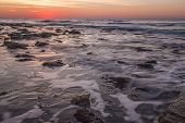 Beautiful Seascape With Rocks During Sunrise. Beautiful Natural Seascape poster