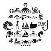 Aqua Icons Set. Simple Set Of 25 Aqua Icons For Web Isolated On White Background poster