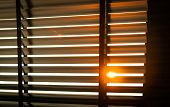 Opened Venetian Plastic Blinds With Sunlight In The Morning. White Plastic Window With Blinds. Inter poster