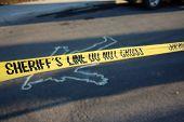 Crime Scene. Chalk Outline. Santa Claus Chalk Outline in the street.  Yellow Sheriff Do Not Cross Ta poster