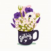 Spring Calligraphic Inscription. Flat Style Vector Illustration Of The Cup With Bouquet Of Spring Fl poster