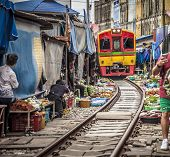 Maeklong Railway Market, A Local Market Commonly Called Siang Tai (life-risking) Market. It Is Consi poster