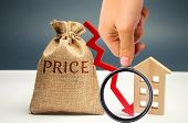 Money Bag With Word Price, Down Arrow And Wooden House. The Concept Of Falling Property Prices. Lowe poster
