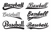 Set Of Inscriptiosn Baseball With Swoosh, Sport Swooshes Set, Underline Swishes Tail Collection, Hig poster