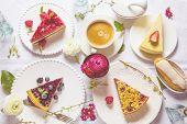 Homemade Cheesecake With Fresh Raspberries And Mint For Dessert - Healthy Organic Summer Dessert Pie poster