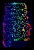 Bright Spectrum Mesh Vector Map Of Alabama State With Glare Effect. Abstract Lines, Triangles, Glare poster