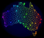 Bright Rainbow Mesh Vector Map Of Australia With Glowing Effect. Abstract Lines, Triangles, Light Sp poster