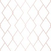Rose Gold Linear Pattern. Vector Geometric Seamless Texture. Pink And White Ornament With Delicate G poster