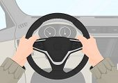 Driving Safety. The Right Position Of The Hands On The Steering Wheel. 9 And 3 Driving Position. Fla poster