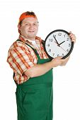 image of roustabouts  - Cheerful worker with a big clock in the hands of a white background - JPG