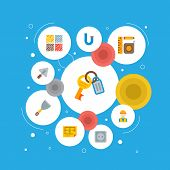 Set Of Industry Icons Flat Style Symbols With Putty Knife, Builder, Measurement Tools And Other Icon poster