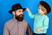 Family Concept. Happy Father And Son In Checkered Shirts Looking At Each Other. Fathers Day Celebra poster