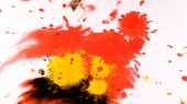 Red Watercolor Paint Dripping Onto A Wet Sheet, Psychedelic Abstract Spray On Paper poster