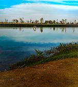 Panoramic View Of The Lake At The Love Lakes Dubai. A New Tourist Destination In The Vicinity Of Al  poster