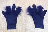 Workshop Of Hand Making A Fleece Gloves From Blue Merino Sheep Wool Using Wet Felting Process - Part poster