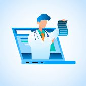 Vector Doctor Writes Prescription Online Treatment. Illustration Male Doctor In White Medical Gown,  poster