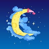 Fun Cartoon Yellow Crescent Moon With Cap Among The Stars And Clouds Icon. Yellow Magic Crescent Moo poster