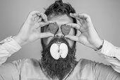 Fruit Filling. Hipster Surprised Enjoy Fruit Filling. Man Stuffed Apple. Man Handsome Hipster Long B poster