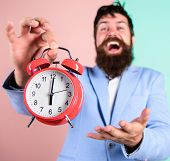 Man Bearded Happy Cheerful Businessman Hold Alarm Clock. Timely Concept. Hipster Happy Working Day I poster