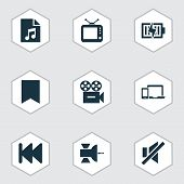 Multimedia Icons Set With Previous, Tv, Sound Off And Other Video Elements. Isolated  Illustration M poster