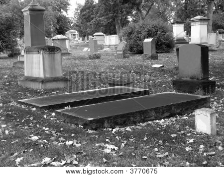 Black And White Graveyard