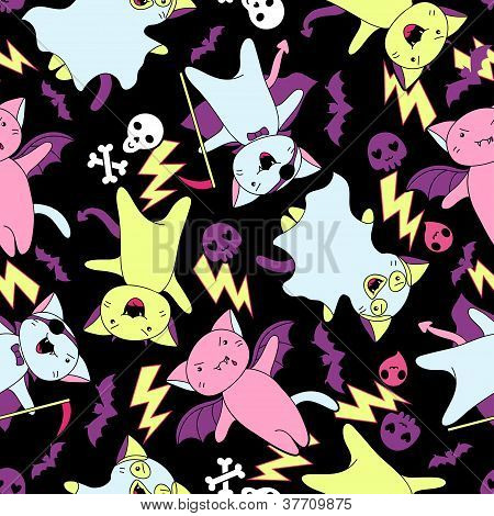 Vector kawaii pattern of Halloween cats and creatures.