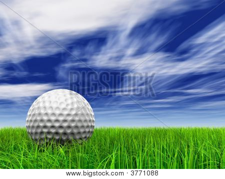 HIGH  RESOLUTION 3D golf ball on green grass