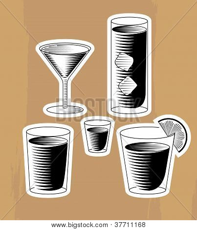 Set Of Woodcut Cocktails