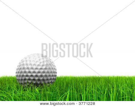 3d white golf ball in green grass isolated on white background