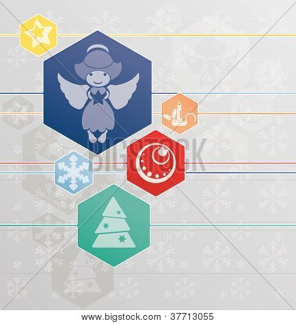 Christmas Background With Angel And Christmas Symbol