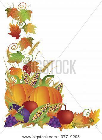 Thanksgiving Fall Harvest And Vines Border Illustration