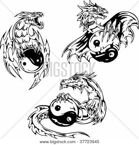 Dragon Tattoos With Yin-yang Signs