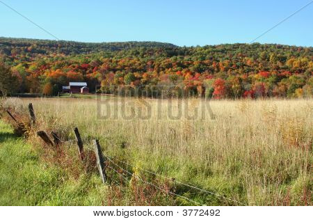 Red Barn In New England Countryside