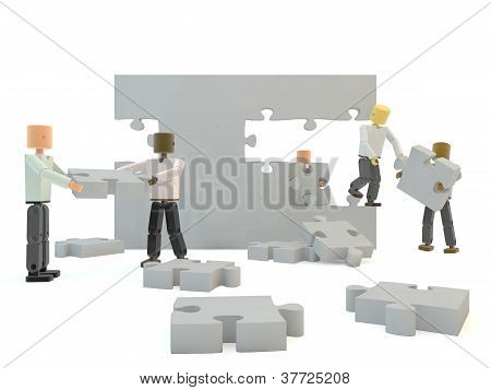Grey jigsaw pieces forming a wall