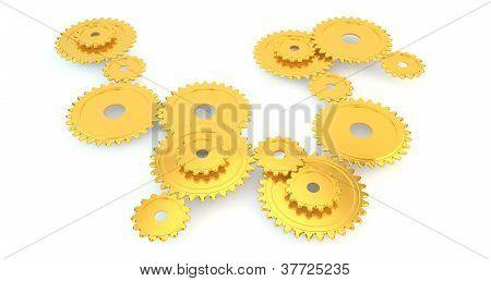 3D gold cogs