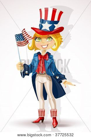 Girl in a suit of Uncle Sam and with flag USA Celebrates 4th July