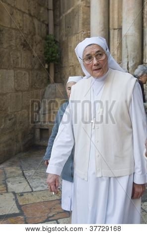 Nun In The Church Of The Holy Sepulcher