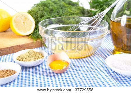 mayonnaise ingredients on tablecloth