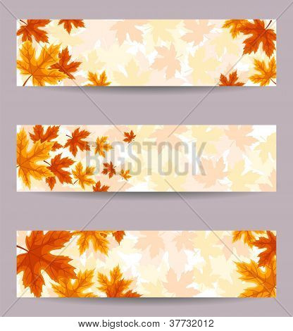 Set of three vector banners (468x120px) with autumn leaves.