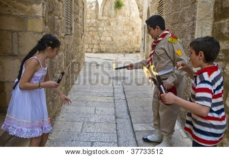 Palestinian Children Holds Candeles