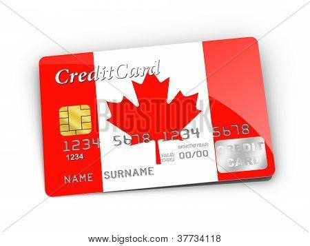 Credit Card Covered With Canada Flag.