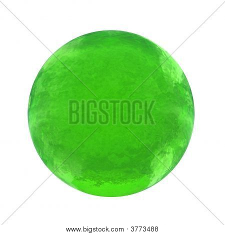 3d green glass sphere isolated on white