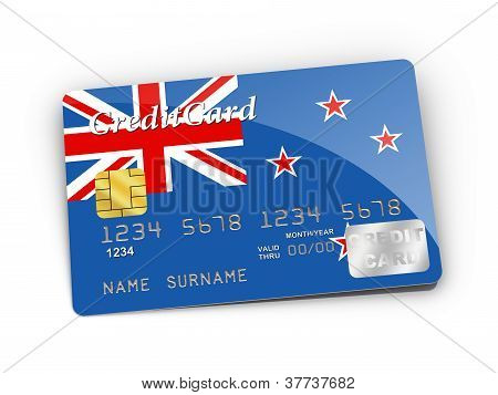 Credit Card Covered With New Zealand Flag.