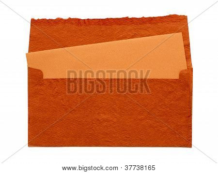 Orange Envelope By Hand On A White Background