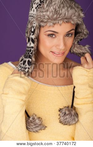 Beautiful Woman In Warm Winter Hat