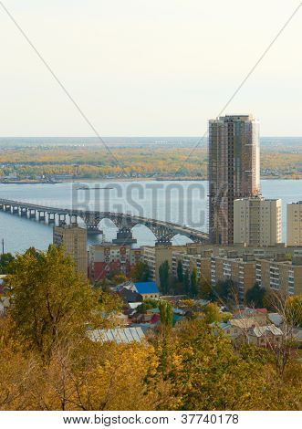 Saratov Engels bridge over the Volga river