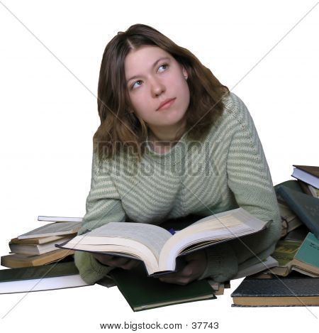 Girl Over A Book poster