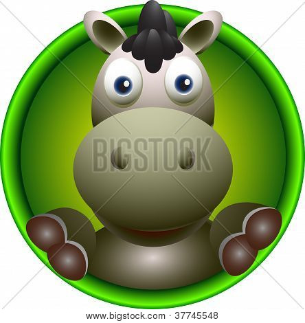 cute donkey head cartoon